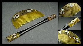 Japanese Geisha Celluloid Kushi Comb and Kogai Hairpin