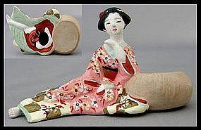 Japanese Hakata Geisha Tengu Mask Shunga Doll Statue
