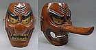 Large Japanese Buddhist Wooden Tengu Mask Men