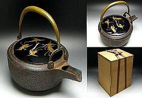 Japanese KIKU and CRANES Tetsubin Iron Tea Ceremony Pot