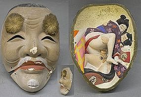 Japanese Hakata Shunga Doll Okimono Statue Noh Mask