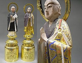 Polychrome Pair of Japanese Buddhist Monk Wooden Statue