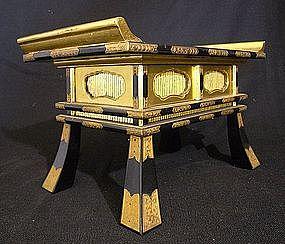 Edo 18th C Japanese Buddhist Altar Lacquered Gilt Table