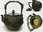 Fine Japanese Tetsubin Cast Iron Tea Ceremony Pot