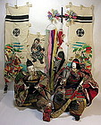 EDO Antique Japanese MUSHA Samurai Ningyo Doll Set