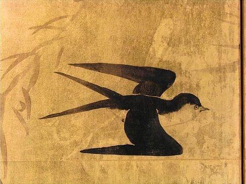 Meiji Period Japanese Gold Screen, Pond Scene