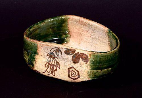 A Fantastic Green Oribe Tea Bowl from Edo