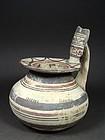 Daunian high handle jug with geometric pattern, 500-475 BC