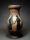 Etruscan black-figure olpe with youths, 480-470 BC