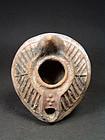 Early Islamic terracotta oil lamp, 8th century AD