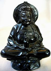Chinese Black Hardstone Carving of Guan-Yin