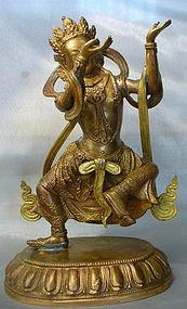 Tibeto-Chinese Gilt Bronze Dancing Buddhist Figure