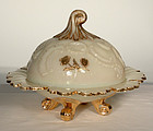 Custard Glass Louis XV Pattern Covered Butter