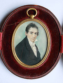 Watercolor Portrait on Ivory, Circa 1810