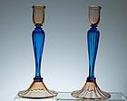 Steuben Rosa & Celeste Blue Candlesticks