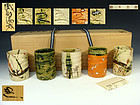 Suzuki Goro Five Oribe Tea Cups Yunomi Set