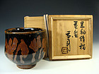 Black Glaze with Kaki Decoration Chawan Tea Bowl by Hamada Shoji