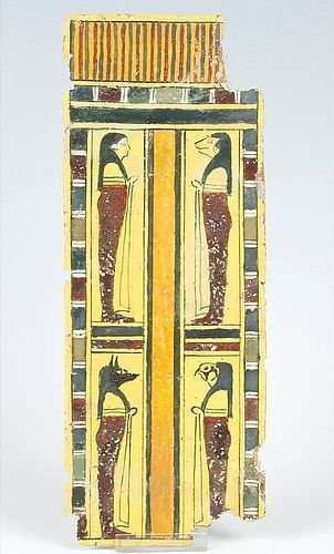 Beautiful BRIGHT Cartonnage Leg Trappings W/4 Sons of Horus! 300 BC