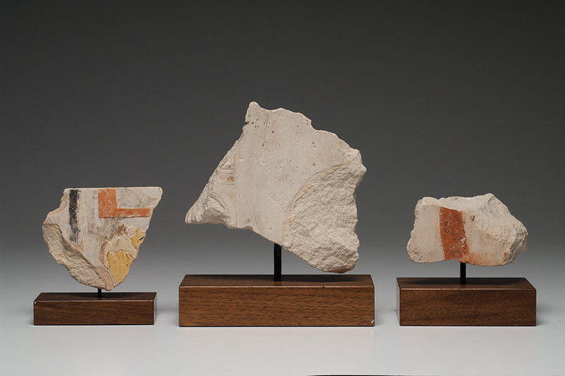 Three Mounted Egyptian Limestone Reliefs! Nice color!