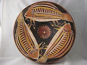 Magnificent Large Greek Pedestal Plate W/Fish Design!