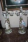 "Beautiful Pr. 21"" Porcelain Figural Candelabra"
