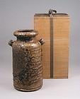 Lovely Japanese Bizen Vase with Ears signed Toyo