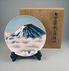 Beautiful Japanese Ando Cloisonne Plate Mt. Fuji