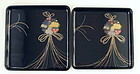 Beautiful Japanese Roiro Makie Lacquer Tray Set