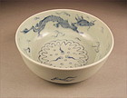 Unusual Ko Imari Sometsuke Bowl Dragon Design 19c