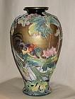 Large Japanese Kyo-Satsuma Vase Rooster/Lotus