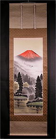 Pretty Japanese Scroll Painting Aka Fuji with Cranes and Sansui