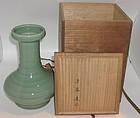 Beautiful Japanese Celadon Vase by Seifu Yohei IV
