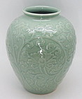 Beautiful Fine Japanese Carved Seiji Vase by Seifu Yohei 4th