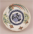 Beautiful Japanese Kakiemon-te Ko Imari Dish Ho-o bird Dsn