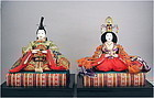 Beautiful Japanese Silk Brocade Hina Dolls Pair