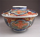 Handsome Japanese Ko Imari Covered Bowl, flying dragon 19c