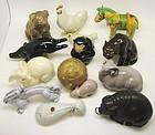 Japanese Ceramic Complete 12 Zodiac Okimono Set by Kusube Yaichi