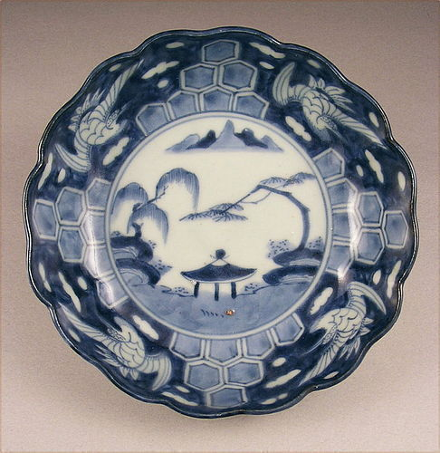 Attractive Japanese Sometsuke Ko Imari Bowl w/Crane 19c