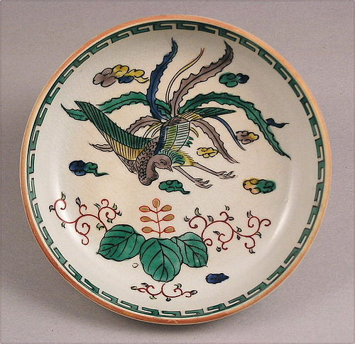 Pretty Japanese Kutani Dish with Ho-O bird, 19c
