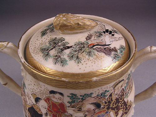 Additional photos for Japanese Kyo Satsuma Covered Jar 19c