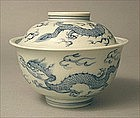 Nice Sometsuke Ko Imari Covered Bowl Dragon 19c