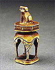 Unique and Unusual Netsuke Dog on Stand