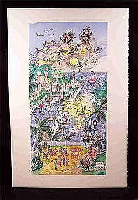 "Original lithograph by Charles Cobelle, ""Monaco"""
