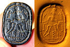 Important large Phoenician scarab seal in onyx!
