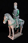 Massive Ming Dynasty, pottery cavalry horse soldier!