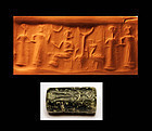 Babylonian serpentinite cylinder seal, 19th. cent. BC