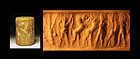 Large Akkadian cylinder seal in shell w contest scene!