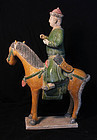 Huge fully glazed Ming pottery cavalry horseman figure