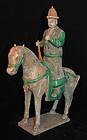 Huge Ming pottery horse man figure musician w flute