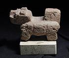 Pre-columbian vulcanic stone jaguar figure, 400-800 AD
